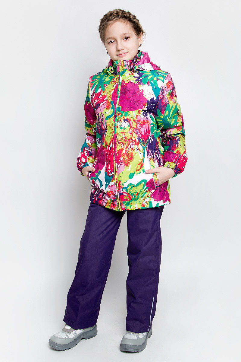 Комплект верхней одежды для девочки Huppa Yonne 1: куртка, брюки, цвет: розовый, желтый, темно-лиловый. 41260114-71273. Размер 152, 11-13 лет41260114-71273Костюм для девочки Huppa Yonne 1 состоит из куртки и брюк. Костюм выполнен из 100% полиэстера с высокими показателями износостойкости. Ткань с обратной стороны покрыта слоем полиуретана с микропорами (мембрана), который препятствует прохождению влаги и ветра внутрь изделия. Для максимальной влагонепроницаемости швы проклеены водостойкой лентой. Подкладка костюма выполнена из гладкой тафты. Высокотехнологичный легкий синтетический утеплитель обладает уникальным расположением волокон, которые обеспечивают сохранение объема и высокую теплоизоляцию, а также гарантируют легкую стирку и быстрое высыхание. Куртка имеет застежку-молнию с защитой подбородка от прищемления, отстегивающийся капюшон, прорезные открытые карманы. Талия, манжеты рукавов и край капюшона снабжены эластичными резинками. Брюки закрываются на застежку-молнию и пуговицу в поясе, эластичные подтяжки регулируемой длины легко снимаются, талия снабжена резинкой для плотного прилегания. На изделиях присутствуют светоотражательные элементы для безопасности в темное время суток.