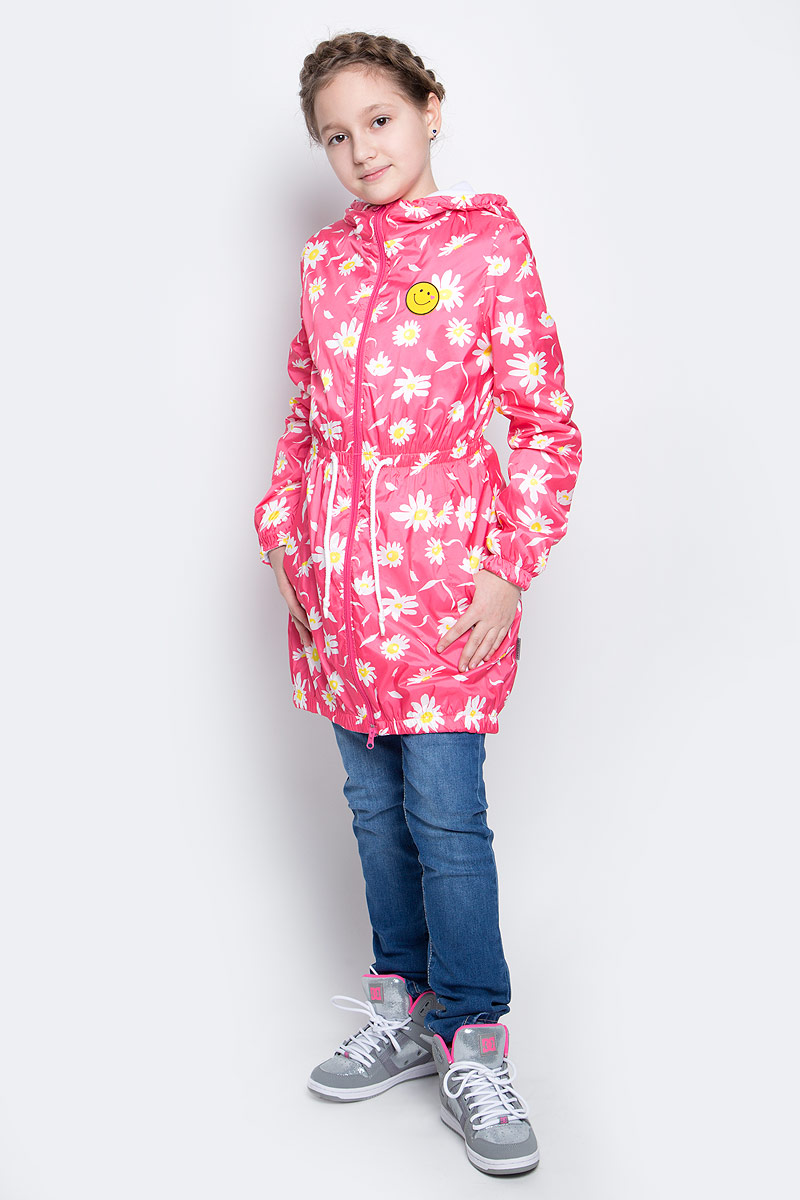 Плащ для девочки Boom!, цвет: розовый, белый, желтый. 70025_BOG_вар.3. Размер 104, 3-4 года70025_BOG_вар.3Плащ для девочки Boom! выполнен из 100% полиэстера. Внутри уютная флисовая подкладка. Плащ с капюшоном застегивается на пластиковую молнию с защитой подбородка. Капюшон не отстегивается, по краю собран на резинки. По линии талии, по краям рукавов и по низу плащ присборен на широкие эластичные резинки. Спереди предусмотрены два втачных кармана. Модель украшена нашивкой на груди. Изделие дополнено светоотражающим элементом для безопасности ребенка в темное время суток.