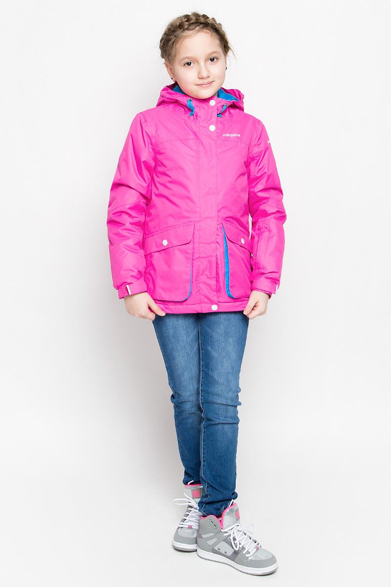 Куртка для девочки Icepeak Hanna, цвет: ярко-розовый. 650026564IV. Размер 152650026564IV_888Модная куртка Icepeak Hanna выполнена из водонепроницаемой и дышащей ткани - высококачественного полиэстера. В качестве наполнителя используется инновационный утеплитель FinnWad, который надежно сохраняет тепло, обеспечивает циркуляцию воздуха и не задерживает влагу. Куртка с несъемным капюшоном застегивается на застежку-молнию и дополнительно на ветрозащитный клапан с кнопками и липучками. Спереди капюшон присборен на резинку, сзади регулируется с помощью хлястика с липучкой. Изделие спереди дополнено двумя накладными карманами на застежках-молниях, оформленными декоративными клапанами с кнопками, на рукаве - втачным карманом на застежке-молнии, с внутренней стороны - накладным сетчатым карманом, прорезным карманом на застежке-молнии и отверстием на наушников. Манжеты рукавов оснащены фиксирующими хлястиками на липучках, с внутренней стороны - эластичными напульсниками с отверстиями для пальцев, которые защитят от проникновения ветра и снега. С внутренней стороны куртка оснащена снегозащитным манжетом на кнопках. Нижняя часть модели с внутренней стороны регулируется с помощью эластичного шнурка со стопперами. Светоотражающие элементы увеличиваю безопасность вашего ребенка в темное время суток.