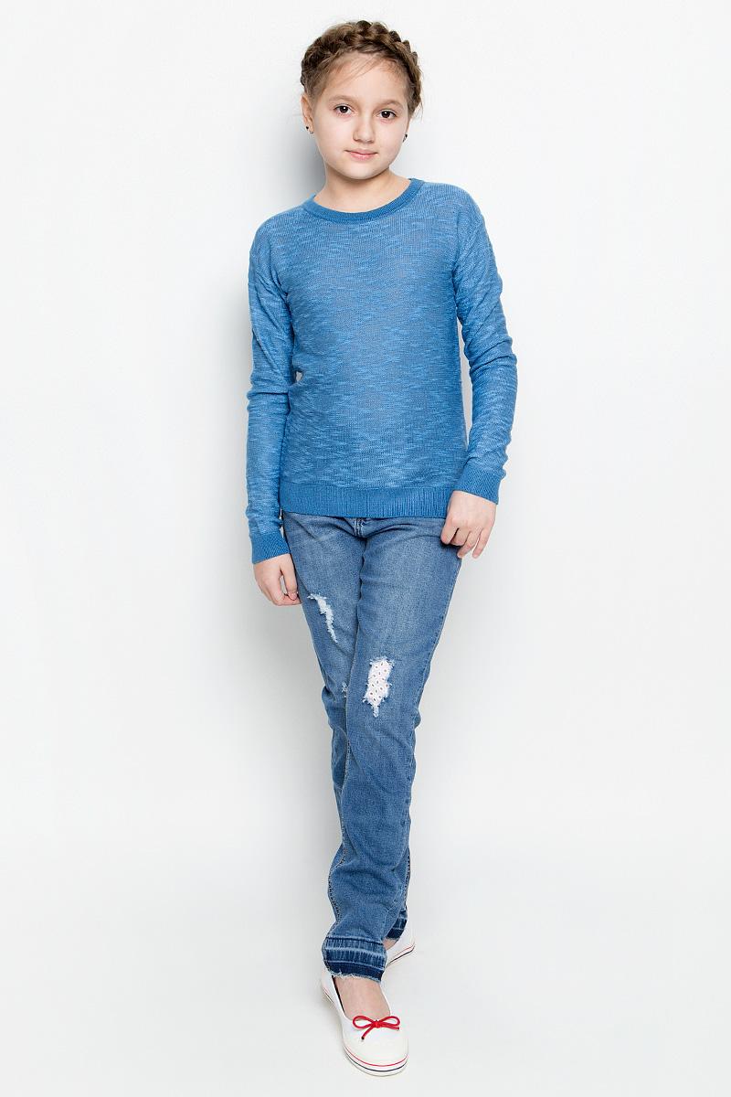 Джемпер для девочки Sela, цвет: синий меланж. JR-614/892-7141. Размер 152, 12 летJR-614/892-7141Удобный джемпер Sela для девочки выполнен из натуральных качественных материалов. Модель с круглым вырезом горловины и длинными рукавами оформлен в лаконичном дизайне. Воротник, манжеты на рукавах и низ изделия связаны трикотажной резинкой.