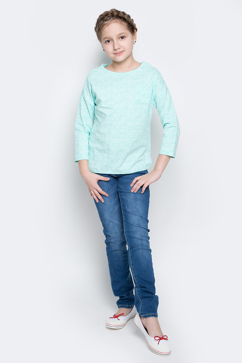 Лонгслив для девочки Sela, цвет: мятный. T-611/958-7141. Размер 116, 6 летT-611/958-7141Лонгслив для девочки Sela выполнен из 100% хлопка. Модель с круглым вырезом горловины и стандартными рукавами 3/4. Спереди на груди расположен небольшой накладной кармашек.