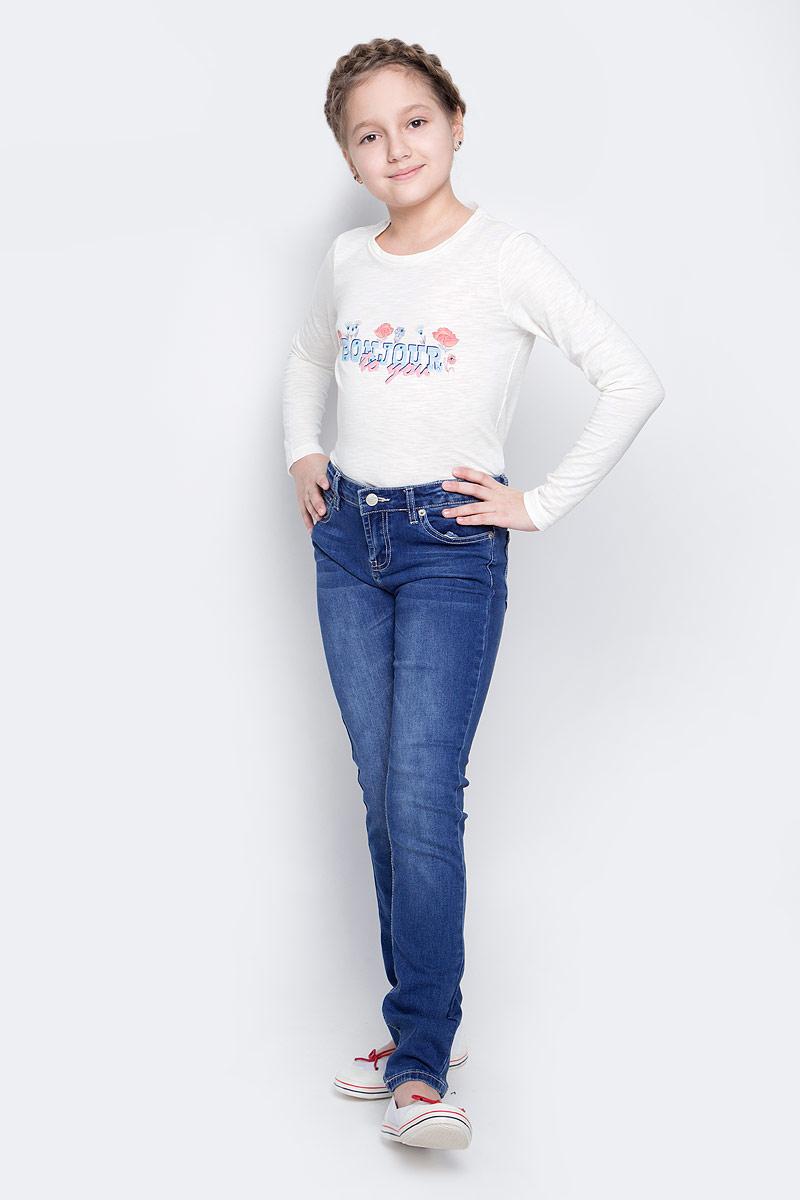 Джинсы для девочки Sela Denim, цвет: синий джинс. PJ-635/526-7142. Размер 152, 12 летPJ-635/526-7142Модные джинсы для девочки Sela Denim выполнены из хлопка с добавлением полиэстера, вискозы и эластана. Джинсы имеют стандартную посадку и силуэт слим. Модель застегивается на пуговицу в поясе и ширинку на застежке-молнии, имеются шлевки для ремня. Джинсы имеют классический пятикарманный крой: спереди расположены два прорезных кармана и один небольшой накладной карман, а сзади - два накладных кармана. Модель дополнена эффектом потертости.