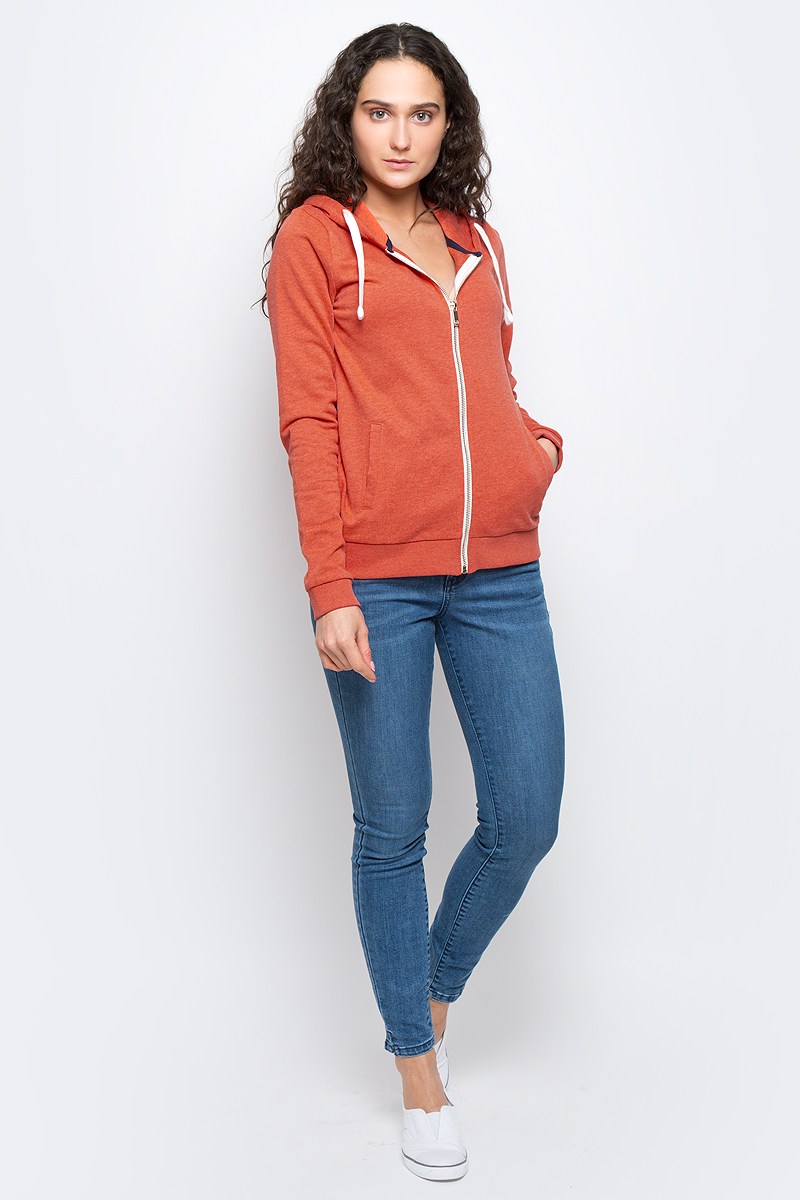 Толстовка женская Tom Tailor Denim, цвет: оранжевый. 2531130.00.71_4711. Размер S (44)2531130.00.71_4711Толстовка женская с капюшоном Tom Tailor Denim изготовлена из качественного хлопка с добавлением полиэстера. Модель застегивается на молнию, капюшон затягивается на шнурок-утяжку. Низ изделия и рукава оформлены широкими эластичными манжетами. Толстовка дополнена двумя врезными карманами.