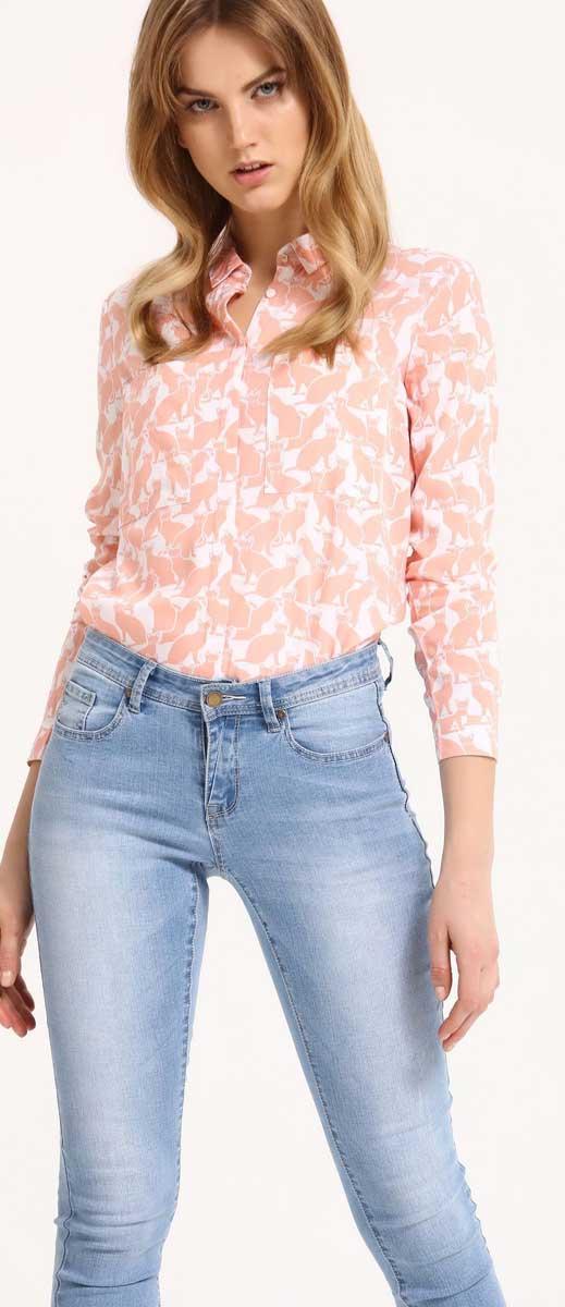Рубашка женская Top Secret, цвет: белый. SKL2210BI. Размер 40 (48)SKL2210BIРубашка женская Top Secret выполнена из 100% вискозы. Модель с отложным воротником застегивается на пуговицы.