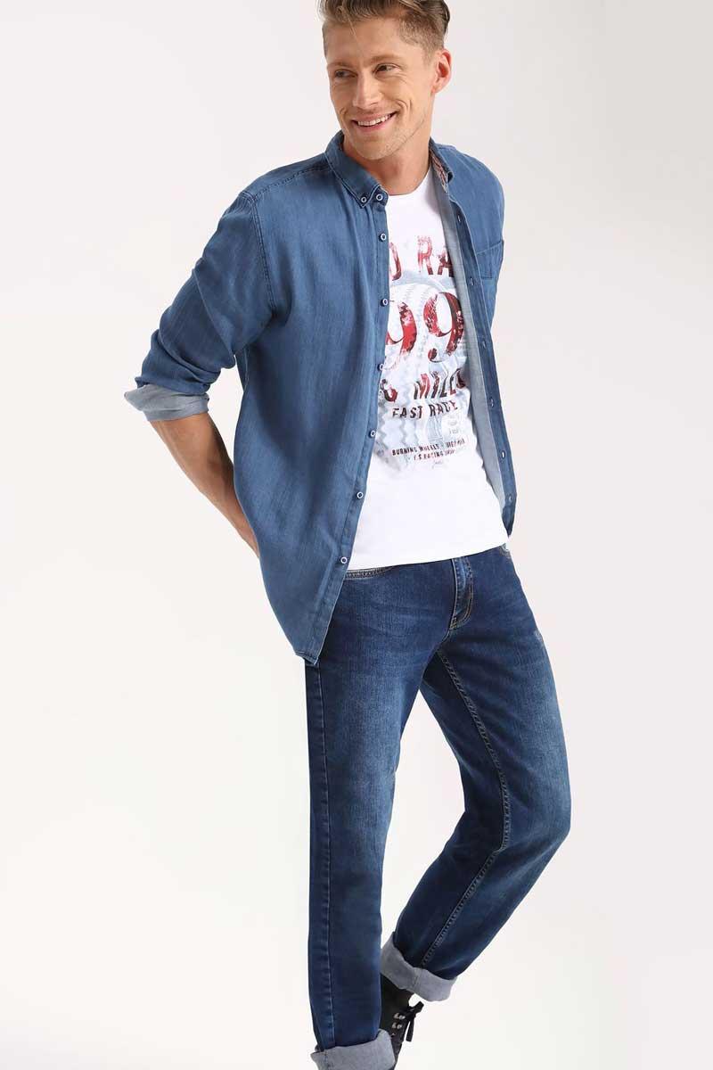 Рубашка мужская Top Secret, цвет: синий. SKL2240NI. Размер 42/43 (50)SKL2240NIРубашка мужская Top Secret выполнена из 100% хлопка. Модель с отложным воротником и длинными рукавами застегивается на пуговицы.