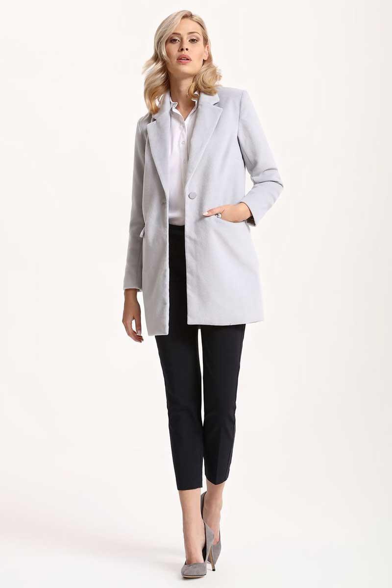 Пальто женское Top Secret, цвет: светло-серый. SPZ0366GB. Размер 38 (46)SPZ0366GBЖенское пальто Top Secret выполнено из высококачественного комбинированного материала. Модель с воротником с лацканами и длинными рукавами застегивается на пуговицу.