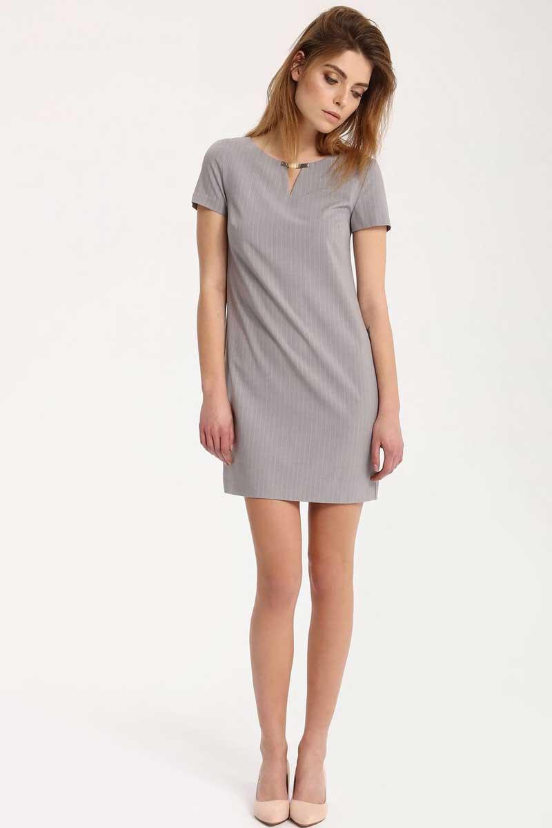 Платье Top Secret, цвет: светло-серый. SSU1745GB. Размер 38 (46)SSU1745GBПлатье Top Secret выполнено из полиэстера, вискозы и эластана. Модель с круглым вырезом горловины и короткими рукавами.