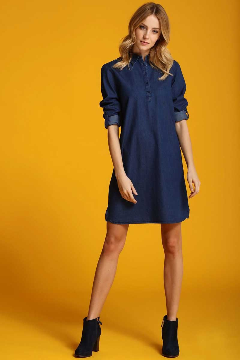 Платье Top Secret, цвет: синий. SSU1790NI. Размер 36 (44)SSU1790NIПлатье Top Secret выполнено из хлопка. Модель с отложным воротником спереди застегивается на пуговицы.