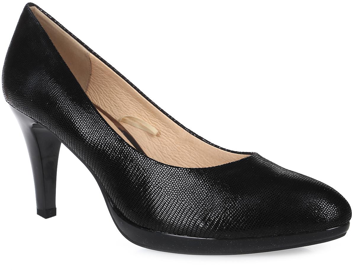 Туфли женские Caprice, цвет: черный. 9-9-22414-28-010/261. Размер 409-9-22414-28-010/261Туфли Caprice выполнены из натуральной кожи и оформлены тиснением под рептилию. Внутренняя поверхность и стелька из натуральной кожи комфортны при движении. Подошва изготовлена из высококачественной резины и дополнена невысоким каблуком-шпилькой. Поверхность подошвы имеет рельефный рисунок.