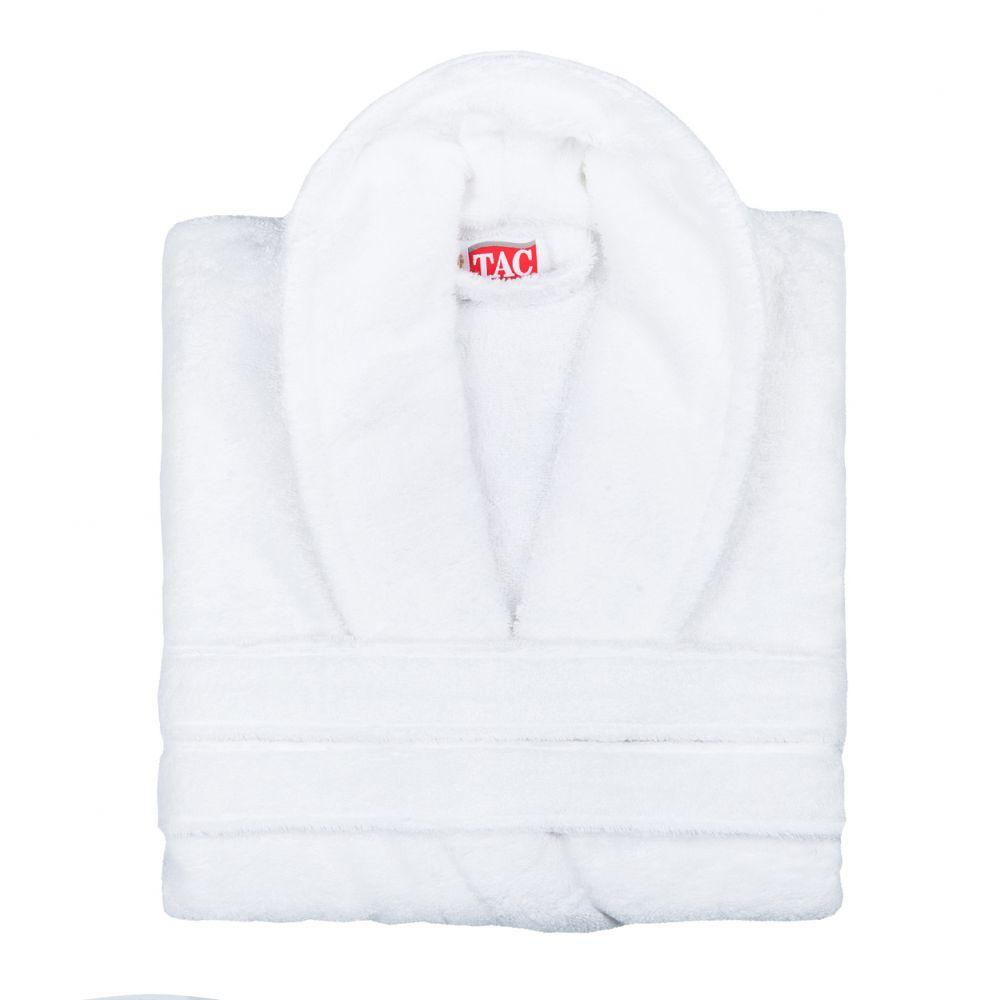 Халат TAC, цвет: белый. 2999g-89683. Размер L/XL (48-52)2999-896Халат TAC с воротником шаль выполнен из плотной бархатистой ткани - смеси хлопка и бамбукового волокна. Халат с запахом на поясе имеет два накладных кармана. Отлично впитывает влагу, пропускает воздух и прост в уходе. Удобен как в носке дома постоянно, так и в эксплуатации после приема ванны или душа. Мягкий пояс прилагается.