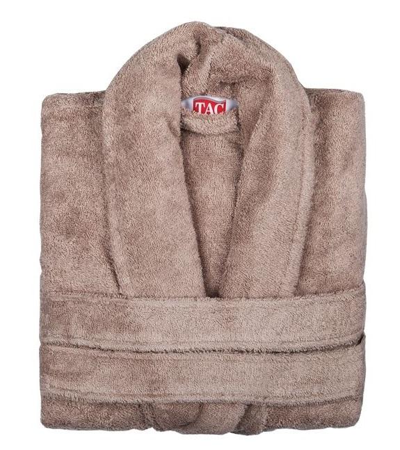 Халат TAC, цвет: коричневый. 2999g-89682. Размер L/XL (48-52)2999-896Халат TAC с воротником шаль выполнен из плотной бархатистой ткани - смеси хлопка и бамбукового волокна. Халат с запахом на поясе имеет два накладных кармана. Отлично впитывает влагу, пропускает воздух и прост в уходе. Удобен как в носке дома постоянно, так и в эксплуатации после приема ванны или душа. Мягкий пояс прилагается.