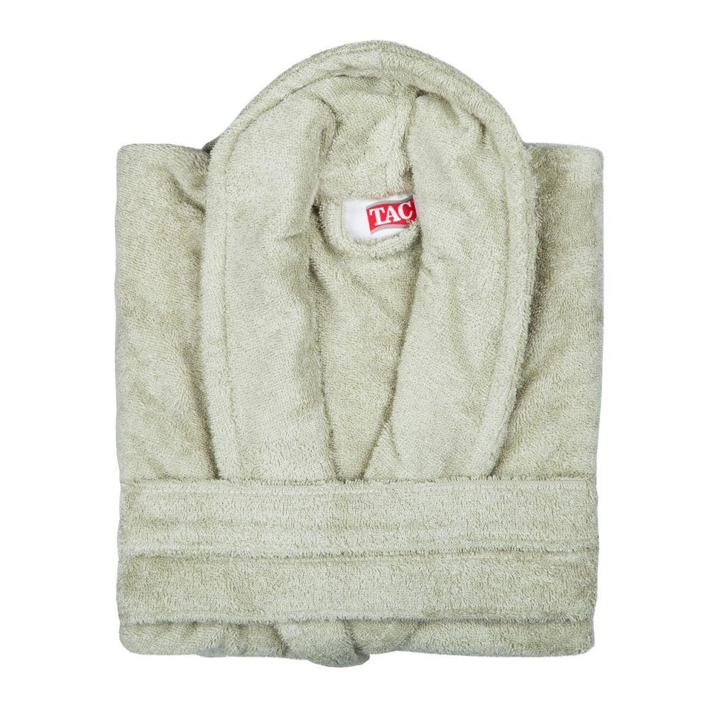 Халат TAC, цвет: фисташковый. 2999g-89684. Размер L/XL (48-52)2999-896Халат TAC с воротником шаль выполнен из плотной бархатистой ткани - смеси хлопка и бамбукового волокна. Халат с запахом на поясе имеет два накладных кармана. Отлично впитывает влагу, пропускает воздух и прост в уходе. Удобен как в носке дома постоянно, так и в эксплуатации после приема ванны или душа. Мягкий пояс прилагается.