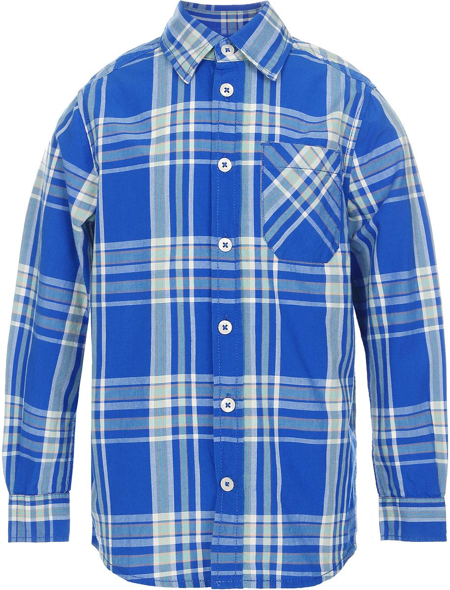 Рубашка для мальчика Tom Tailor, цвет: синий. 2032941.00.82_6834. Размер 116/1222032941.00.82_6834Рубашка для мальчика Tom Tailor выполнена из натурального хлопка. Модель с отложным воротником и длинными рукавами застегивается на пуговицы. Спереди изделие дополнено накладным карманом.