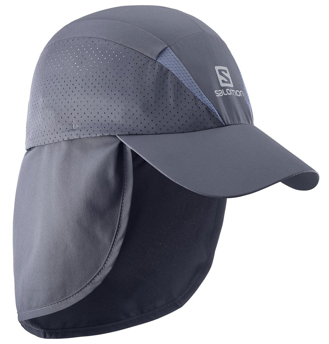 Кепка Salomon Cap Xa+, цвет: серый. L39304100. Размер L/XL (59)L39304100Новый лаконичный силуэт, низкий вес и хорошая вентиляция: кепка XACap быстро сохнет, сохраняя чувство свежести и комфорта во время беге. Дополнительная защита шеи от прямых солнечных лучей.