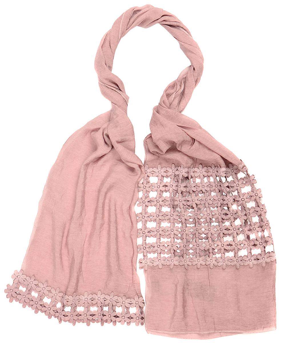 Палантин Laccom, цвет: розово-сиреневый. 3202. Размер 190 см х 70 см3202MСтильный палантин Laccom изготовлен из вискозы и хлопка. Изделие оформлено вставками с кружевом. Изделия Laccom приятные на ощупь и подойдут к любому стилю.