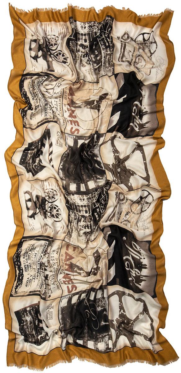 Палантин женский Laccom, цвет: светло-коричневый, бежевый. 3216. Размер 190 см х 60 см3216UПалантин Laccom изготовлен из мягкой качественной вискозы. Палантин оформлен оригинальным принтом, по краям - обсыпка с короткой бахромой.