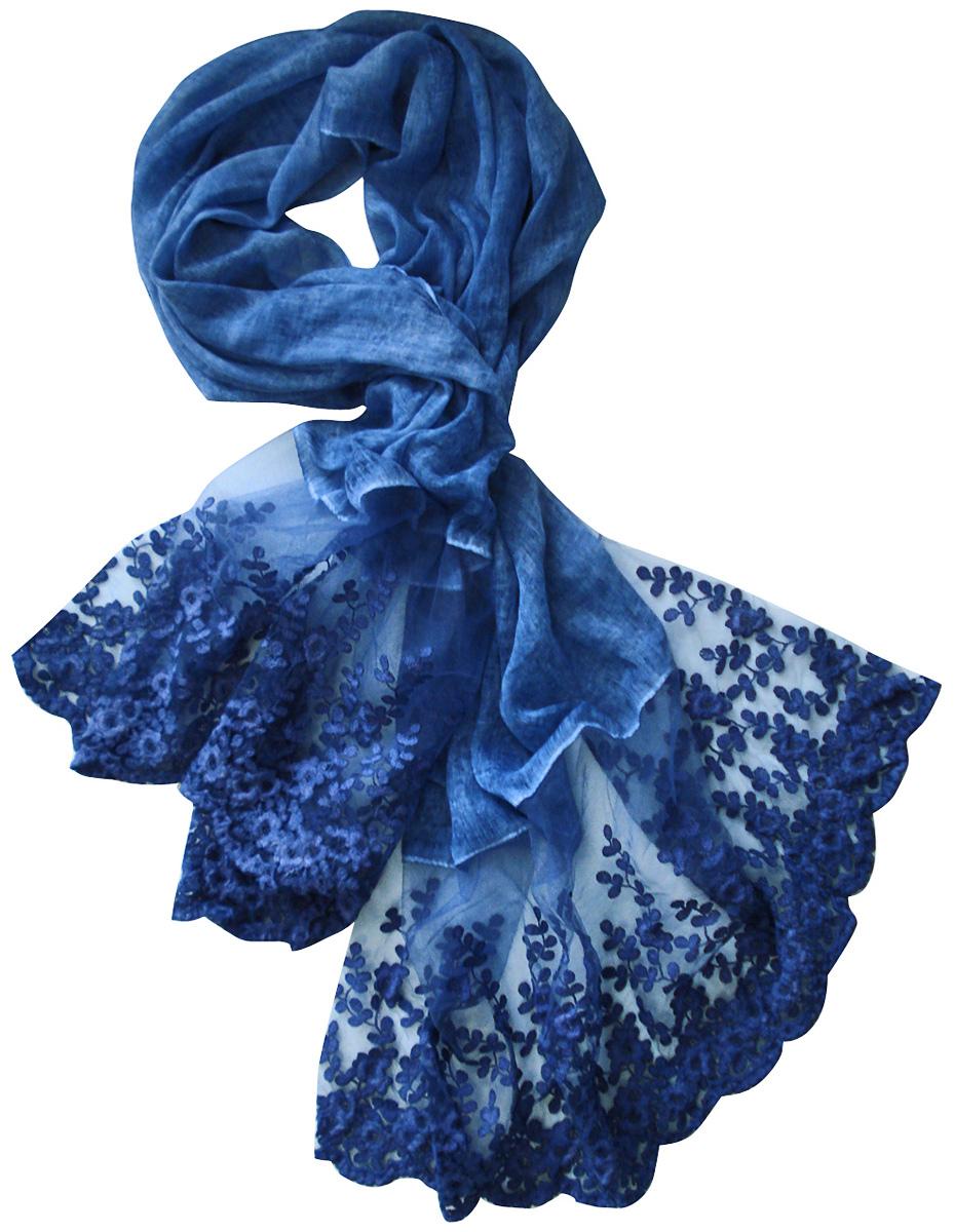 Палантин Laccom, цвет: синий. 3217. Размер 190 см х 70 см3217GСтильный палантин Laccom изготовлен из вискозы и полиэстера. Модель оформлена рисунком с прозрачными мотивами. Изделия Laccom приятные на ощупь и подойдут к любому стилю.