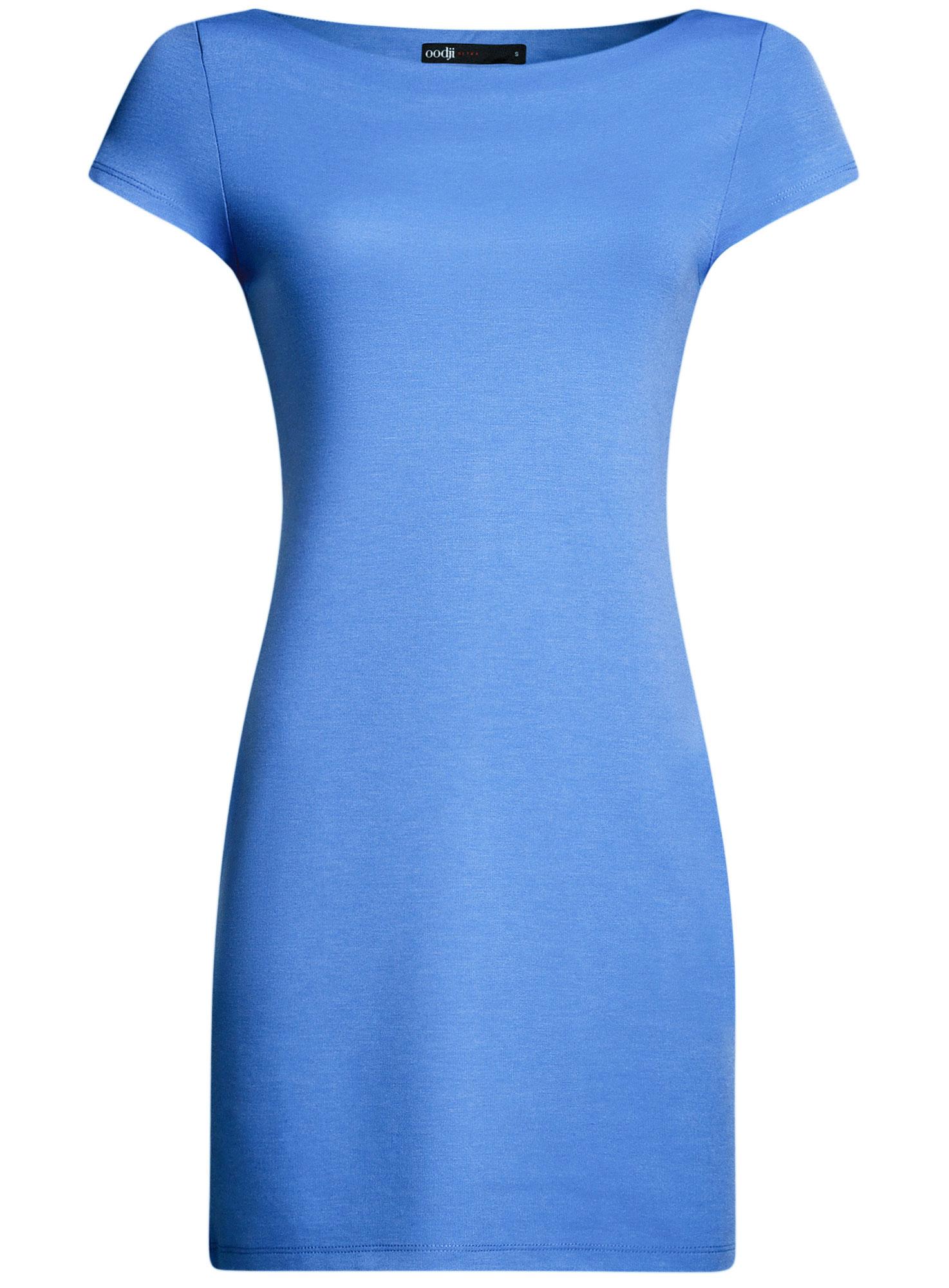 Платье oodji Ultra, цвет: синий. 14001117-2B/16564/7500N. Размер M (46)14001117-2B/16564/7500NТрикотажное платье oodji Ultra выполнено из качественного комбинированного материала. Модель по фигуре с вырезом-лодочкой и короткими рукавами.