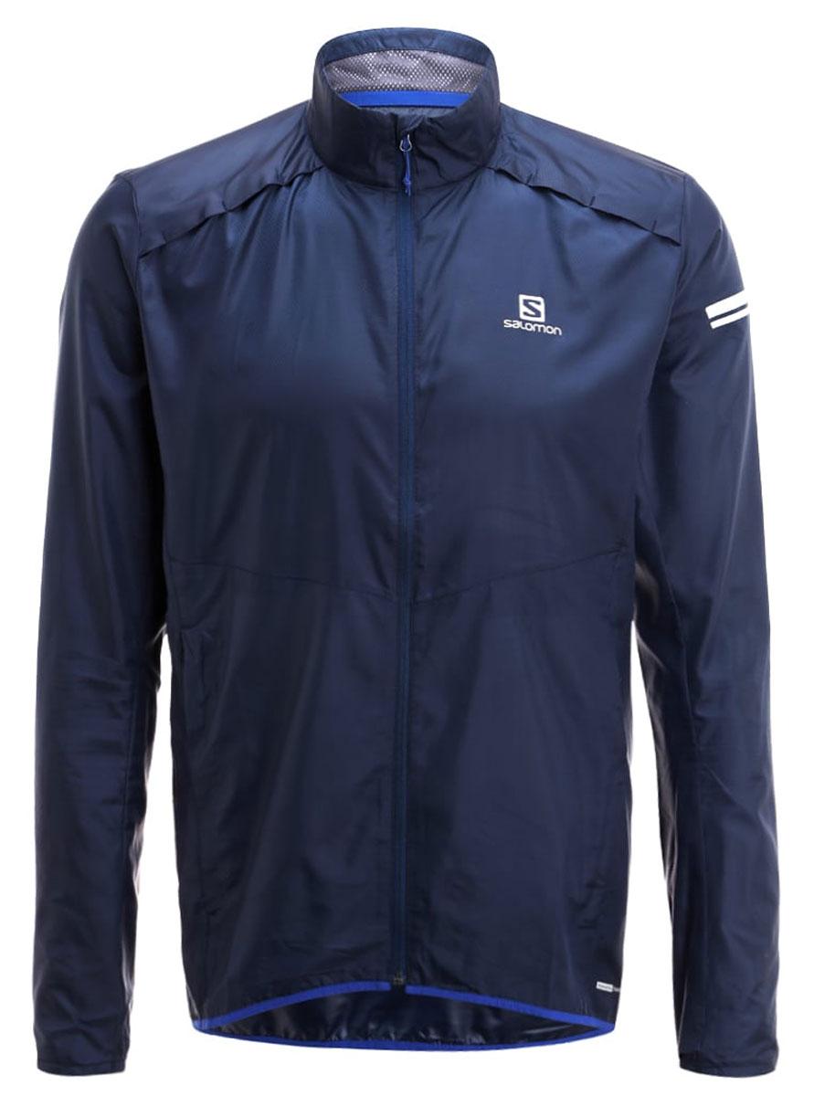 Ветровка для бега мужская Salomon Agile Jacket, цвет: синий. L39268800. Размер M (48/50)L39268800Легкая куртка Agile Jacket стильно выглядит и защищает от ветра. Модель с длинными рукавами и воротником-стойкой застегивается на молнию.