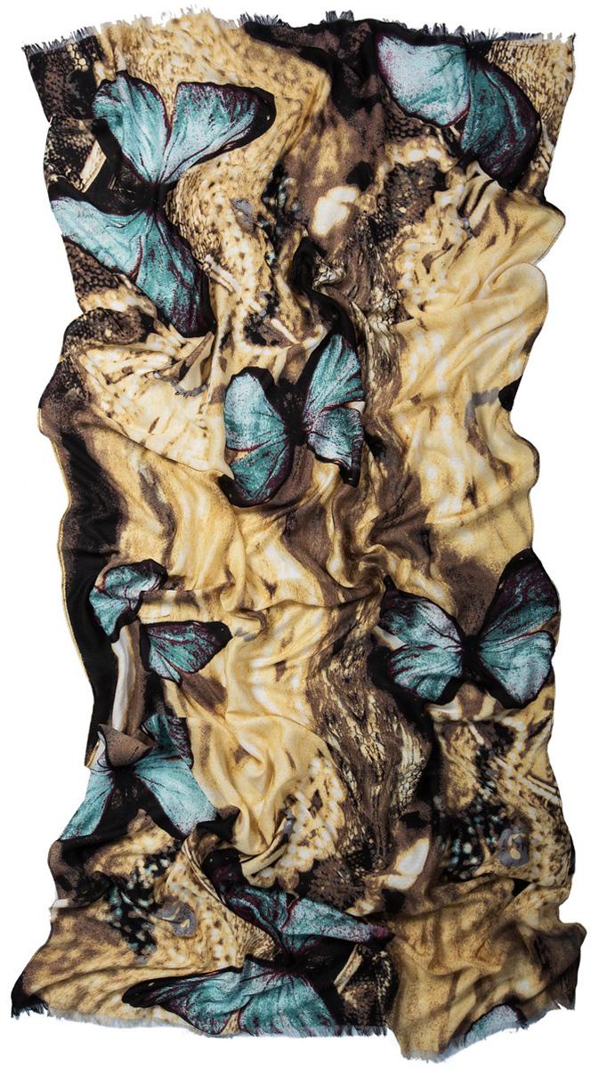 Палантин Laccom, цвет: желтый, коричневый, голубой. 3222. Размер 200 см х 95 см3222JСтильный палантин Laccom изготовлен из вискозы. Модель оформлена короткой бахромой и оригинальным принтом. Изделия Laccom приятные на ощупь и подойдут к любому стилю.