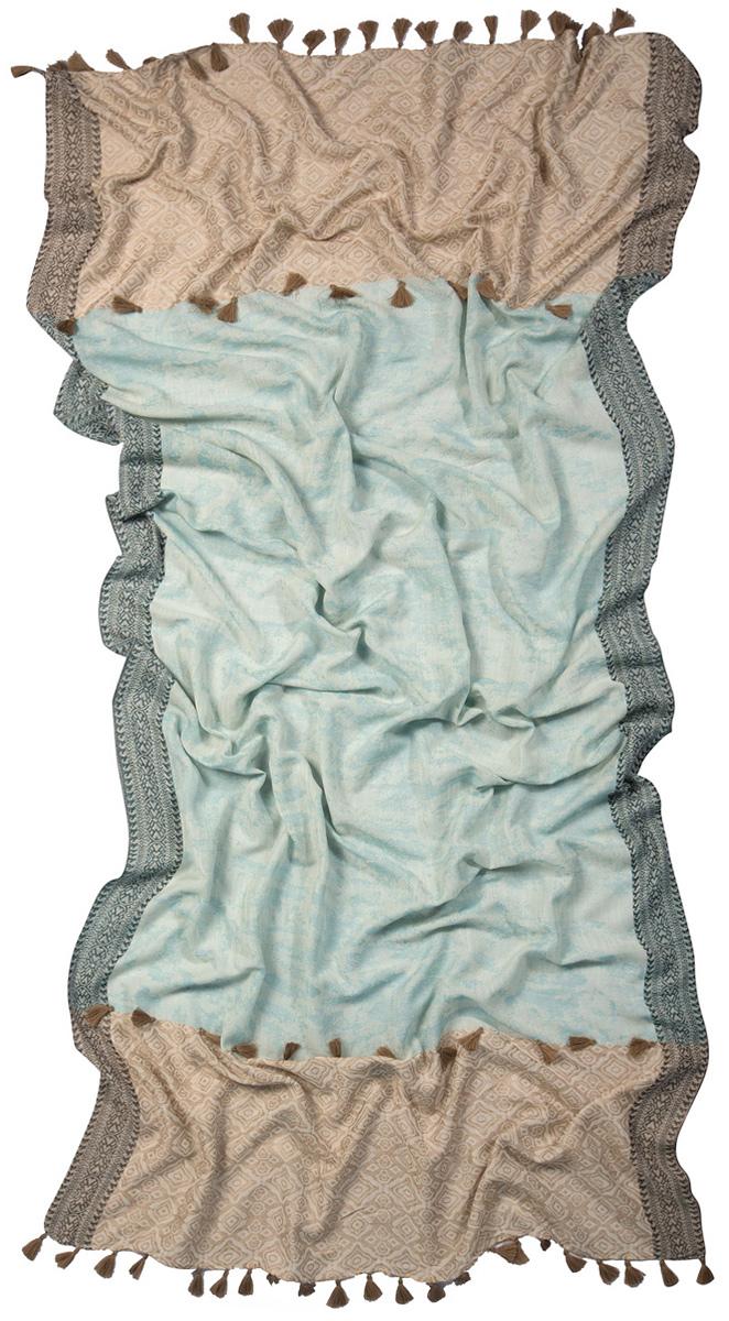 Палантин Laccom, цвет: голубой, бежевый. 3223. Размер 200 см х 95 см3223IСтильный палантин Laccom изготовлен из вискозы и шелка. Модель оформлена декоративными кисточками. Изделия Laccom приятные на ощупь и подойдут к любому стилю.