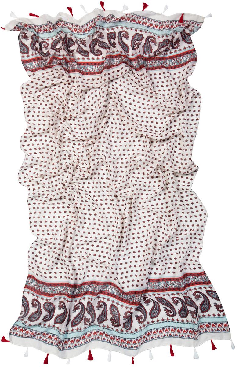 Палантин Laccom, цвет: белый, коричневый, красный. 3401. Размер 190 см х 100 см3401CСтильный палантин Laccom изготовлен из хлопка и полиэстера. Модель оформлена оригинальным принтом и декоративными кисточками. Изделия Laccom приятные на ощупь и подойдут к любому стилю.
