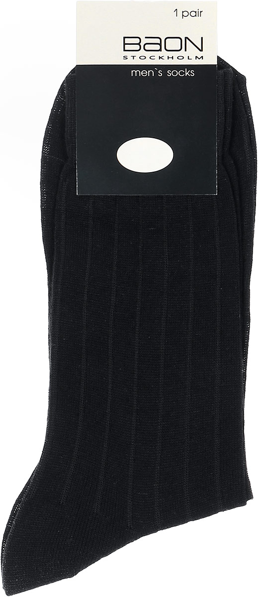 Носки мужские Baon, цвет: черный. B897014. Размер 27 (40/42)B897014_BlackМужские носки Baon изготовлены из высококачественного хлопка с добавлением полиамида. Удлиненные носки имеют эластичную резинку, которая надежно фиксирует носки на ноге.