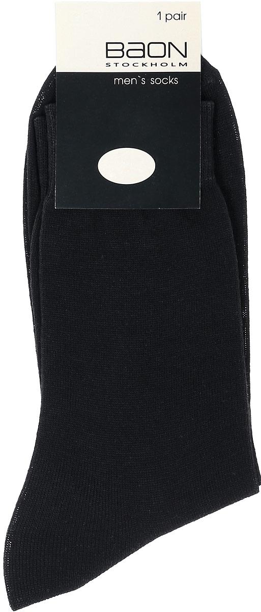 Носки мужские Baon, цвет: черный. B897013. Размер 27 (40/42)B897013_BlackМужские носки Baon изготовлены из высококачественного хлопка с добавлением полиамида. Носки имеют эластичную резинку, которая надежно фиксирует носки на ноге.