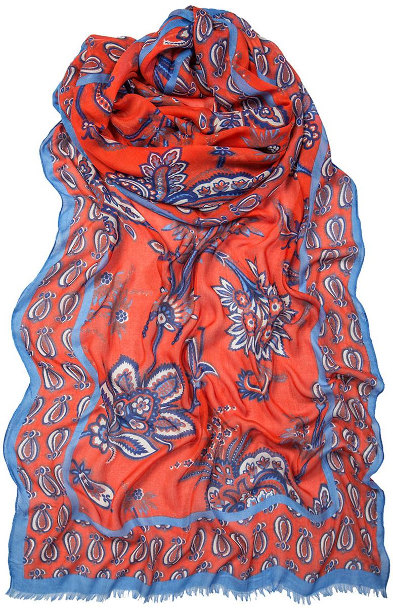Палантин Laccom, цвет: красный, голубой. 3403. Размер 190 см х 80 см3403CСтильный палантин Laccom изготовлен из модала и шелка. Модель оформлена оригинальным принтом и короткой бахромой. Изделия Laccom приятные на ощупь и подойдут к любому стилю.