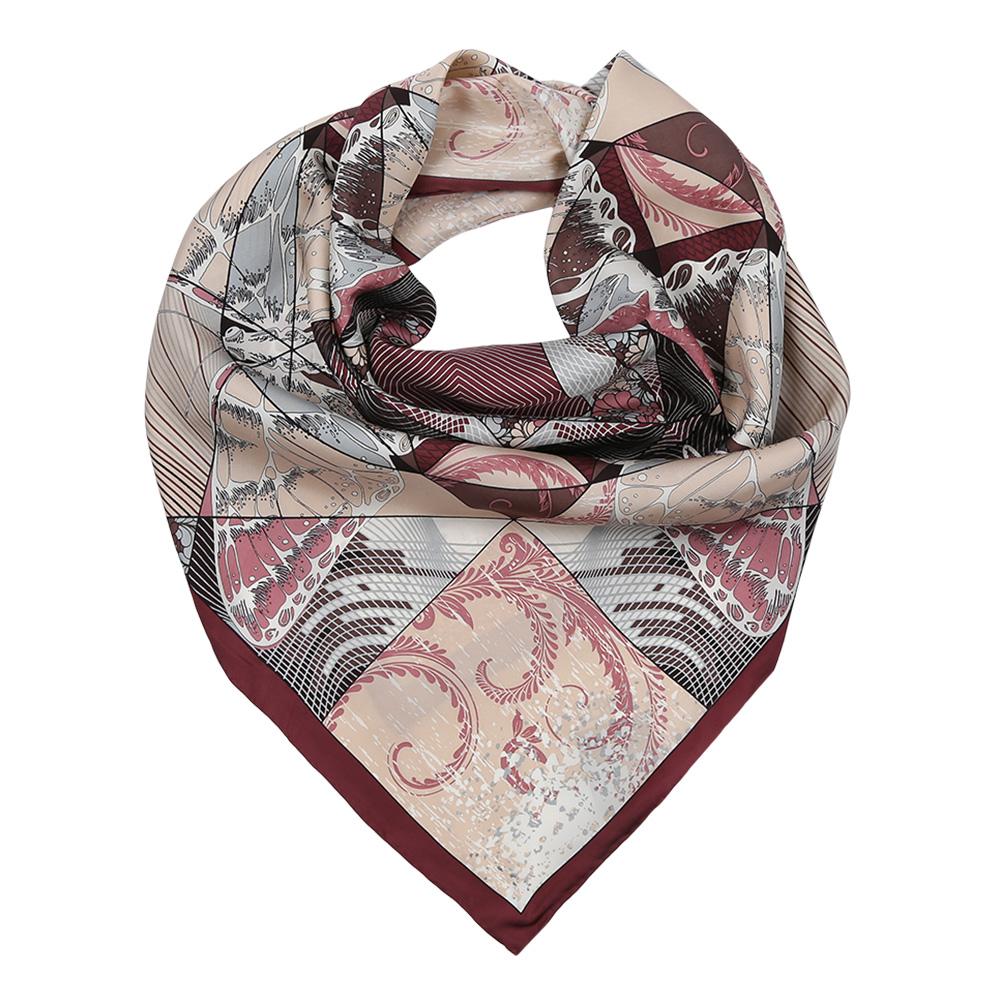 Платок женский Fabretti, цвет: бордовый, серый. CX1617-22-3. Размер 90 см х 90 смCX1617-22-3Изысканный женский платок Fabretti выполнен из натурального шелка, который придает изделию неповторимый роскошный блеск и гладкость фактуры. Тонкая и прочная нить, создающая струящуюся ткать, подчеркнет изысканный вкус своей обладательницы.