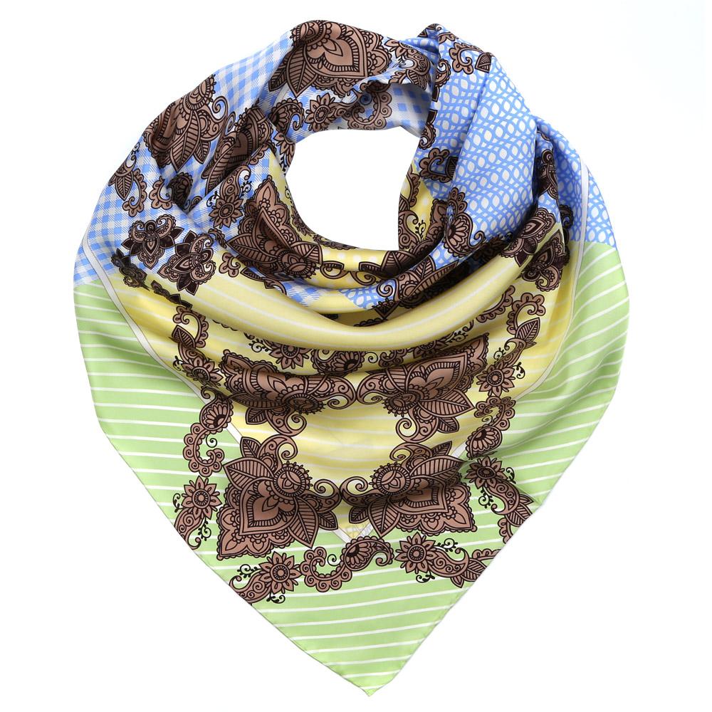 Платок женский Fabretti, цвет: голубой, салатовый, желтый. CX1617-29-3. Размер 90 см х 90 смCX1617-29-3Изысканный женский платок Fabretti выполнен из натурального шелка, который придает изделию неповторимый роскошный блеск и гладкость фактуры. Тонкая и прочная нить, создающая струящуюся ткать, подчеркнет изысканный вкус своей обладательницы.