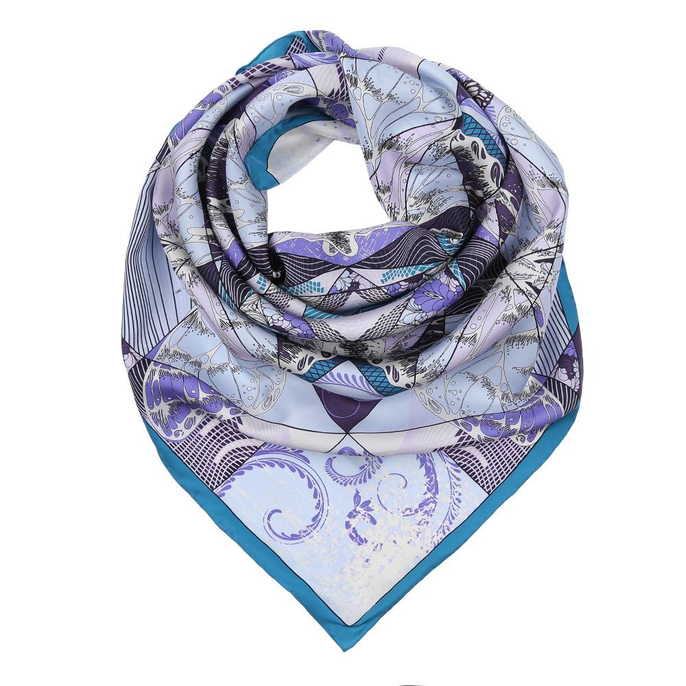 Платок женский Fabretti, цвет: голубой, сиреневый. CX1617-22-6. Размер 90 см х 90 смCX1617-22-6Изысканный женский платок Fabretti выполнен из натурального шелка, который придает изделию неповторимый роскошный блеск и гладкость фактуры. Тонкая и прочная нить, создающая струящуюся ткать, подчеркнет изысканный вкус своей обладательницы.