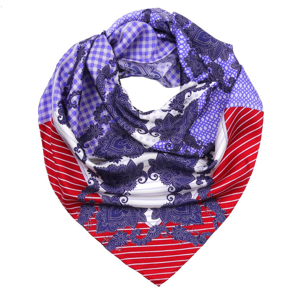 Платок женский Fabretti, цвет: красный, синий, белый. CX1617-29-6. Размер 90 см х 90 смCX1617-29-6Изысканный женский платок Fabretti выполнен из натурального шелка, который придает изделию неповторимый роскошный блеск и гладкость фактуры. Тонкая и прочная нить, создающая струящуюся ткать, подчеркнет изысканный вкус своей обладательницы.