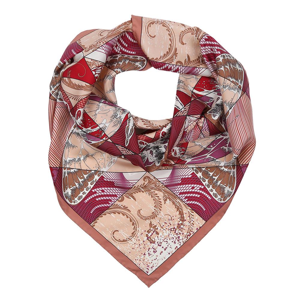 Платок женский Fabretti, цвет: красный, бежевый. CX1617-22-1. Размер 90 см х 90 смCX1617-22-1Изысканный женский платок Fabretti выполнен из натурального шелка, который придает изделию неповторимый роскошный блеск и гладкость фактуры. Тонкая и прочная нить, создающая струящуюся ткать, подчеркнет изысканный вкус своей обладательницы.