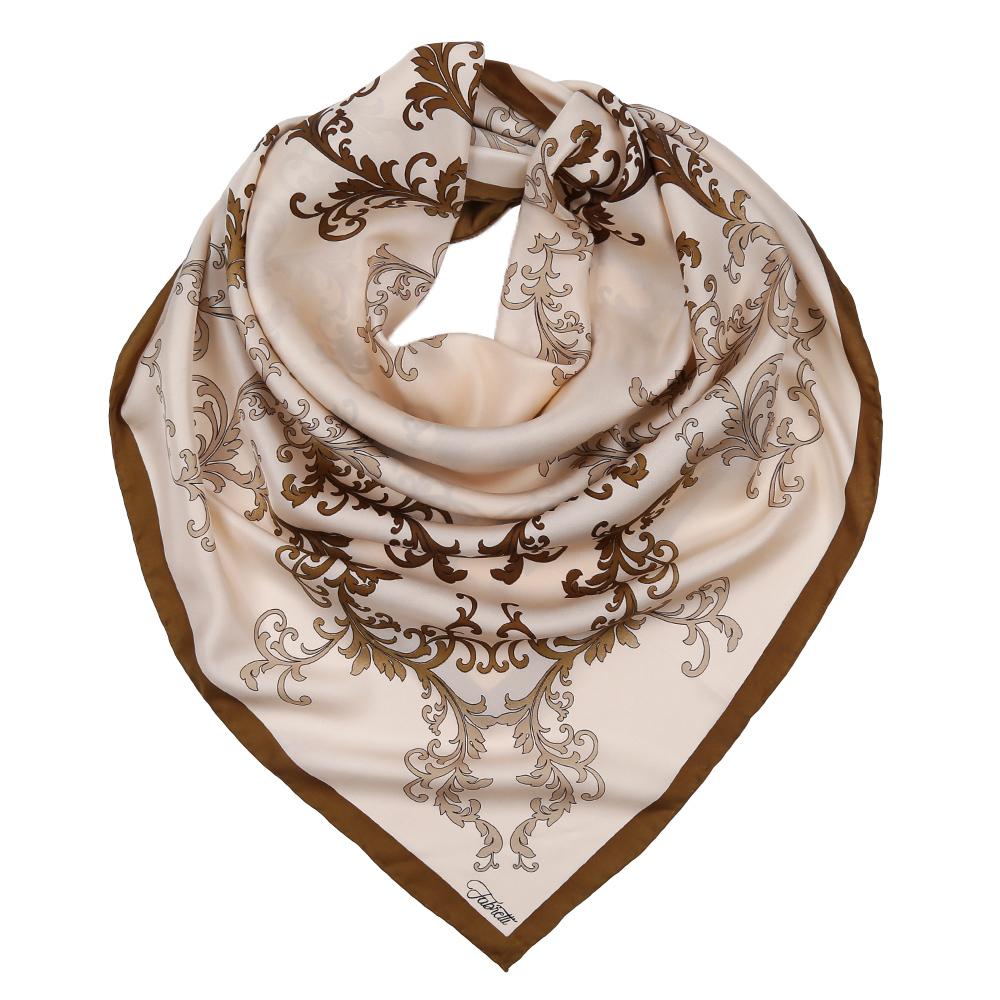 Платок женский Fabretti, цвет: бежевый. CX1617-37-5. Размер 90 см х 90 смCX1617-37-5Изысканный женский платок Fabretti выполнен из натурального шелка, который придает изделию неповторимый роскошный блеск и гладкость фактуры. Тонкая и прочная нить, создающая струящуюся ткать, подчеркнет изысканный вкус своей обладательницы.