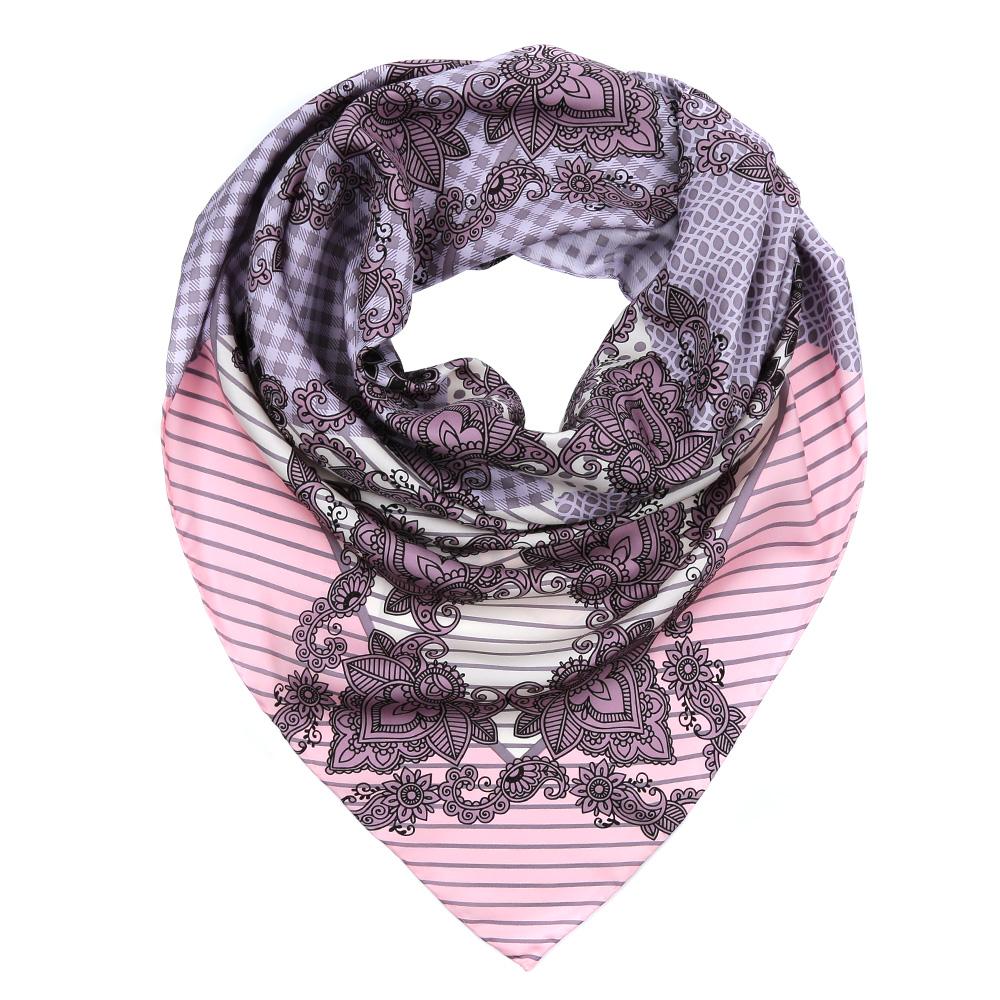 Платок женский Fabretti, цвет: розовый, серый, белый. CX1617-29-5. Размер 90 см х 90 смCX1617-29-5Изысканный женский платок Fabretti выполнен из натурального шелка, который придает изделию неповторимый роскошный блеск и гладкость фактуры. Тонкая и прочная нить, создающая струящуюся ткать, подчеркнет изысканный вкус своей обладательницы.