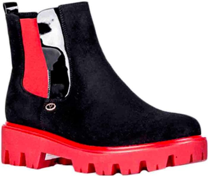 Ботинки женские Vitacci, цвет: черный, красный. 83270. Размер 3883270Удобные женские ботинки от Vitacci изготовлены из качественной искусственной кожи. Боковые стороны дополнены эластичными резинками для удобства надевания. Практичная стелька из ворсина обеспечит комфорт при носке. Подошва дополнена небольшим каблуком и рифлением.