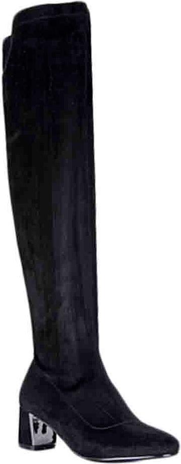 Ботфорты женские Vitacci, цвет: черный. 83112. Размер 3983112Женские ботфорты на устойчивом каблуке от Vitacci выполнены из качественной искусственной замши. Модель оформлена застежкой-молнией. Подкладка и стелька изготовлены из мягкого ворсина. Каблук и подошва выполнены из прочного полимерного материала.