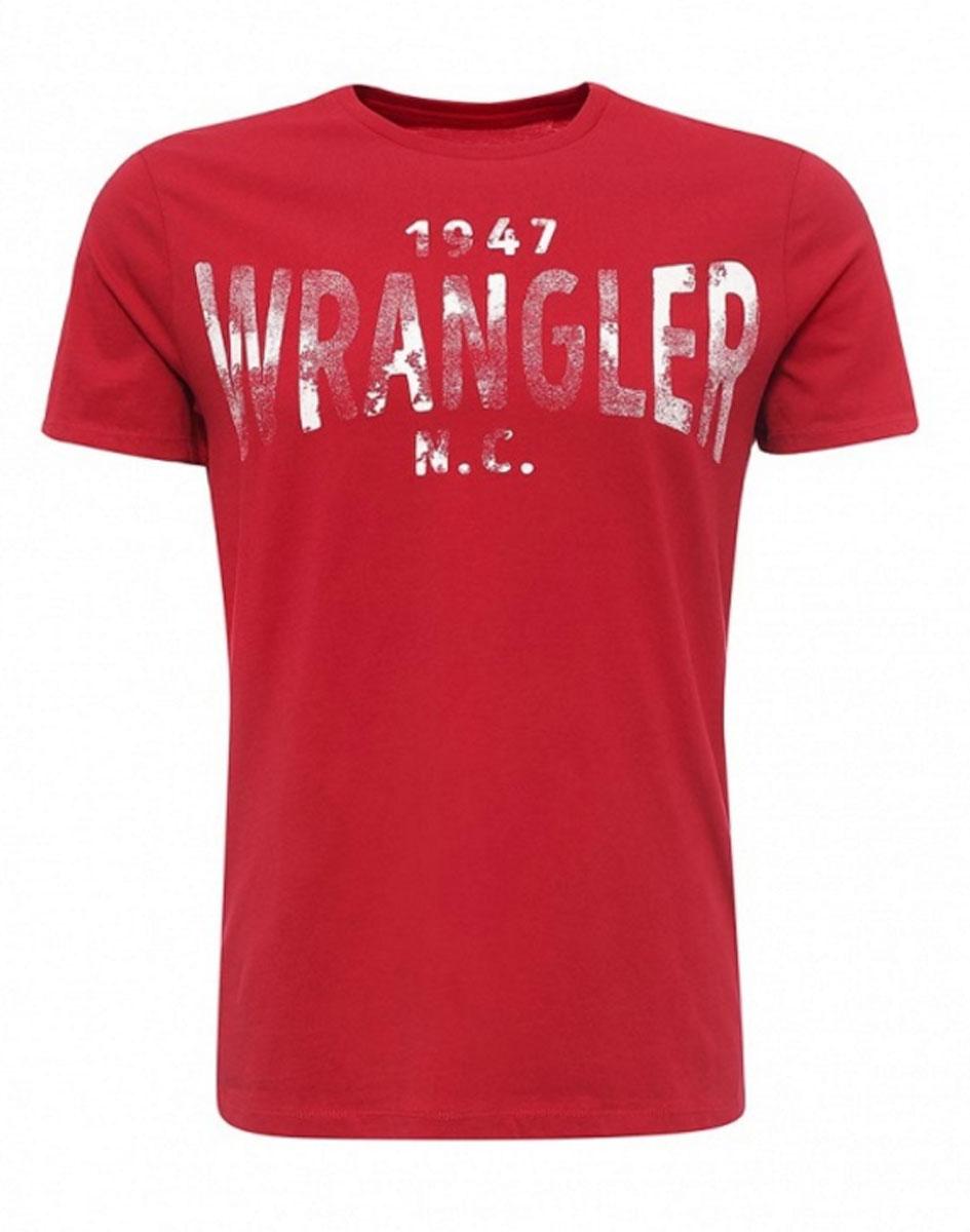 Футболка мужская Wrangler S/S Wrangler, цвет: красный. W7A51FK47. Размер L (50)W7A51FK47Стильная мужская футболка Wrangler S/S Wrangler изготовлена из натурального хлопка. Модель с круглым вырезом горловины и короткими рукавами оформлена принтом с надписями.