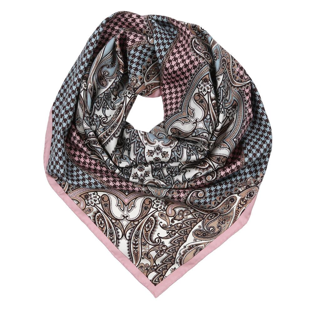 Платок женский Leo Ventoni, цвет: розовый, голубой, черный. CX1617-36-5. Размер 90 см х 90 смCX1617-36-5Изысканный женский платок Leo Ventoni выполнен из натурального шелка, который придает изделию неповторимый роскошный блеск и гладкость фактуры. Тонкая и прочная нить, создающая струящуюся ткать, подчеркнет изысканный вкус своей обладательницы.