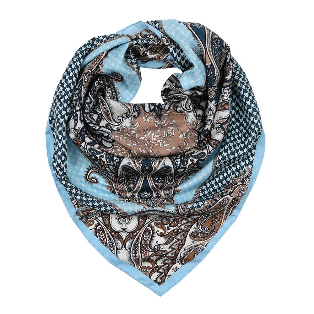 Платок женский Leo Ventoni, цвет: голубой, бежевый. CX1617-36-3. Размер 90 см х 90 смCX1617-36-3Изысканный женский платок Leo Ventoni выполнен из натурального шелка, который придает изделию неповторимый роскошный блеск и гладкость фактуры. Тонкая и прочная нить, создающая струящуюся ткать, подчеркнет изысканный вкус своей обладательницы.