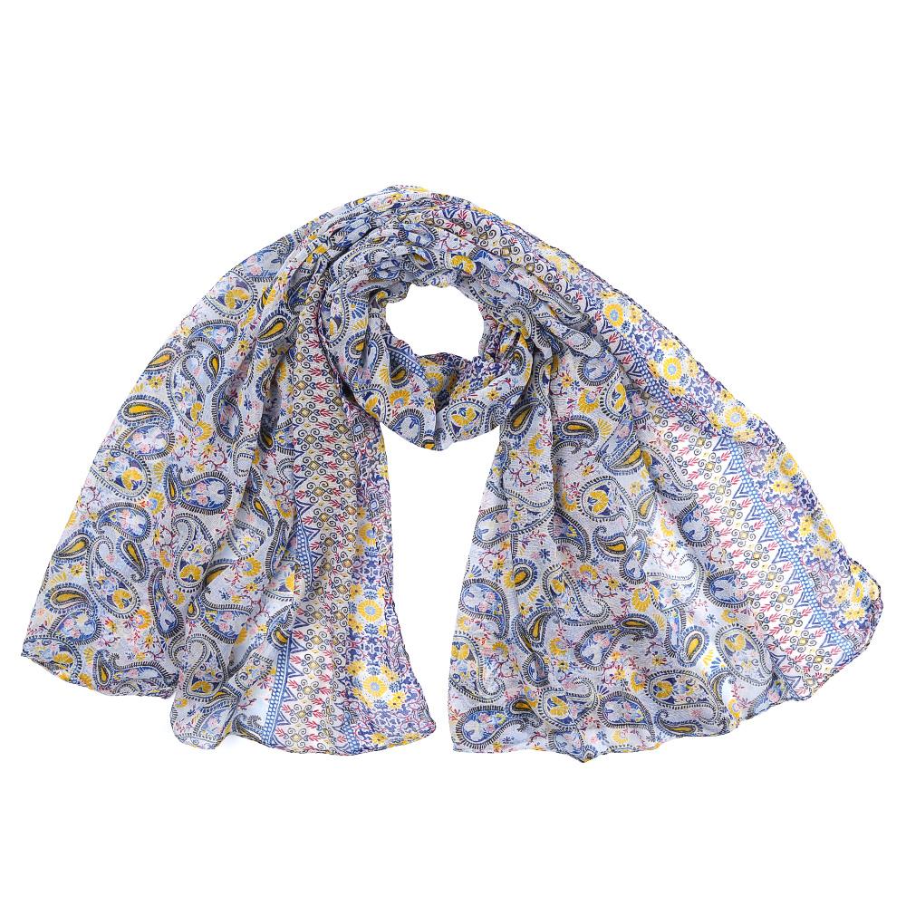 Шарф женский Fabretti, цвет: синий, желтый. XHL2-4. Размер 180 см х 90 смXHL2-4Элегантный женский шарф от итальянского бренда Fabretti имеет неповторимую мягкость и легкость фактуры. Сочетание цветов позволило дизайнерам создать изысканную модель, которая станет изюминкой любого весеннего образа.