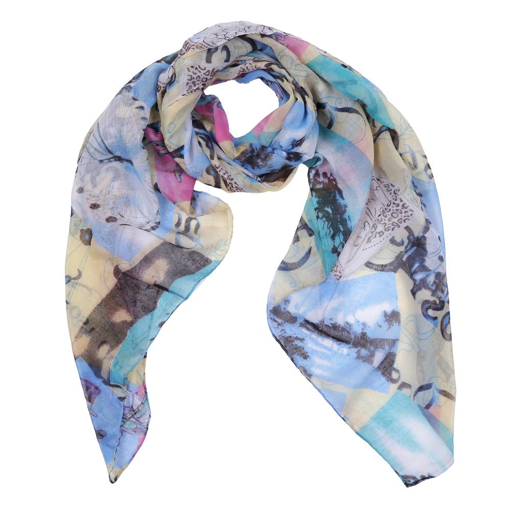 Шарф женский Fabretti, цвет: голубой, бежевый, серый. Leo386-E. Размер 180 см х 90 смLeo386-EЭлегантный женский шарф от итальянского бренда Fabretti имеет неповторимую мягкость и легкость фактуры. Красочное сочетание цветов позволило дизайнерам создать изысканную модель, которая станет изюминкой любого весеннего образа.