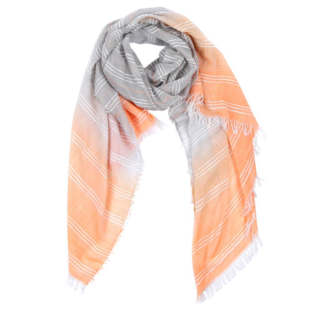 Шарф женский Fabretti, цвет: серый, оранжевый. WJ9566-2. Размер 200 см х 85 смWJ9566-2Элегантный женский шарф от итальянского бренда Fabretti имеет неповторимую мягкость и легкость фактуры. Красочное сочетание цветов позволило дизайнерам создать изысканную модель, которая станет изюминкой любого весеннего образа.