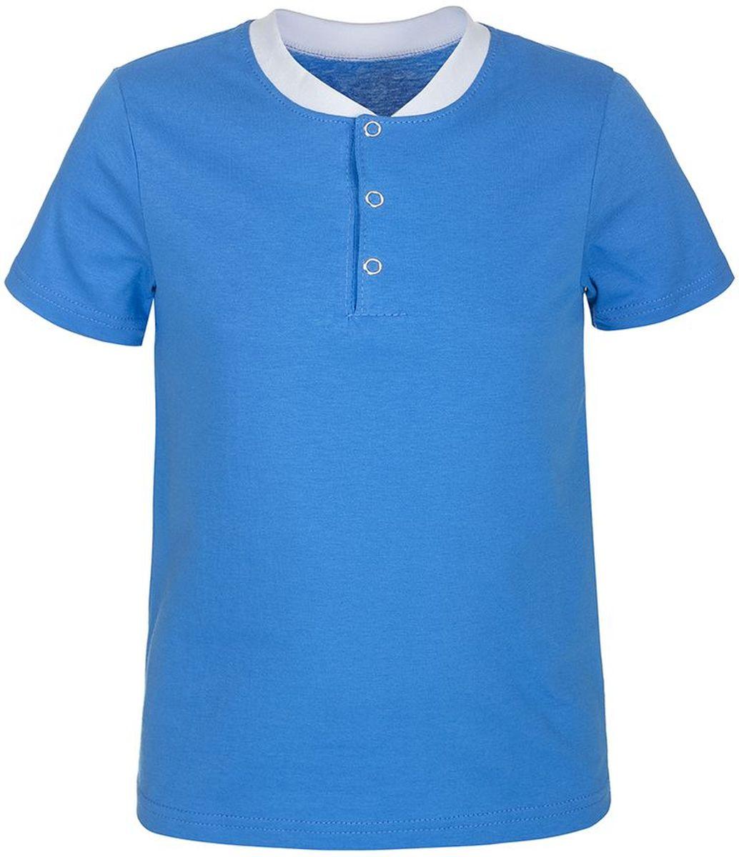 Футболка для мальчика M&D, цвет: синий, белый. ФМ160401. Размер 128ФМ160401Футболка для мальчика M&D выполнена из 100% хлопка. Имеет круглый вырез воротника оформленный текстильной резинкой, который застегивается на три кнопки спереди.