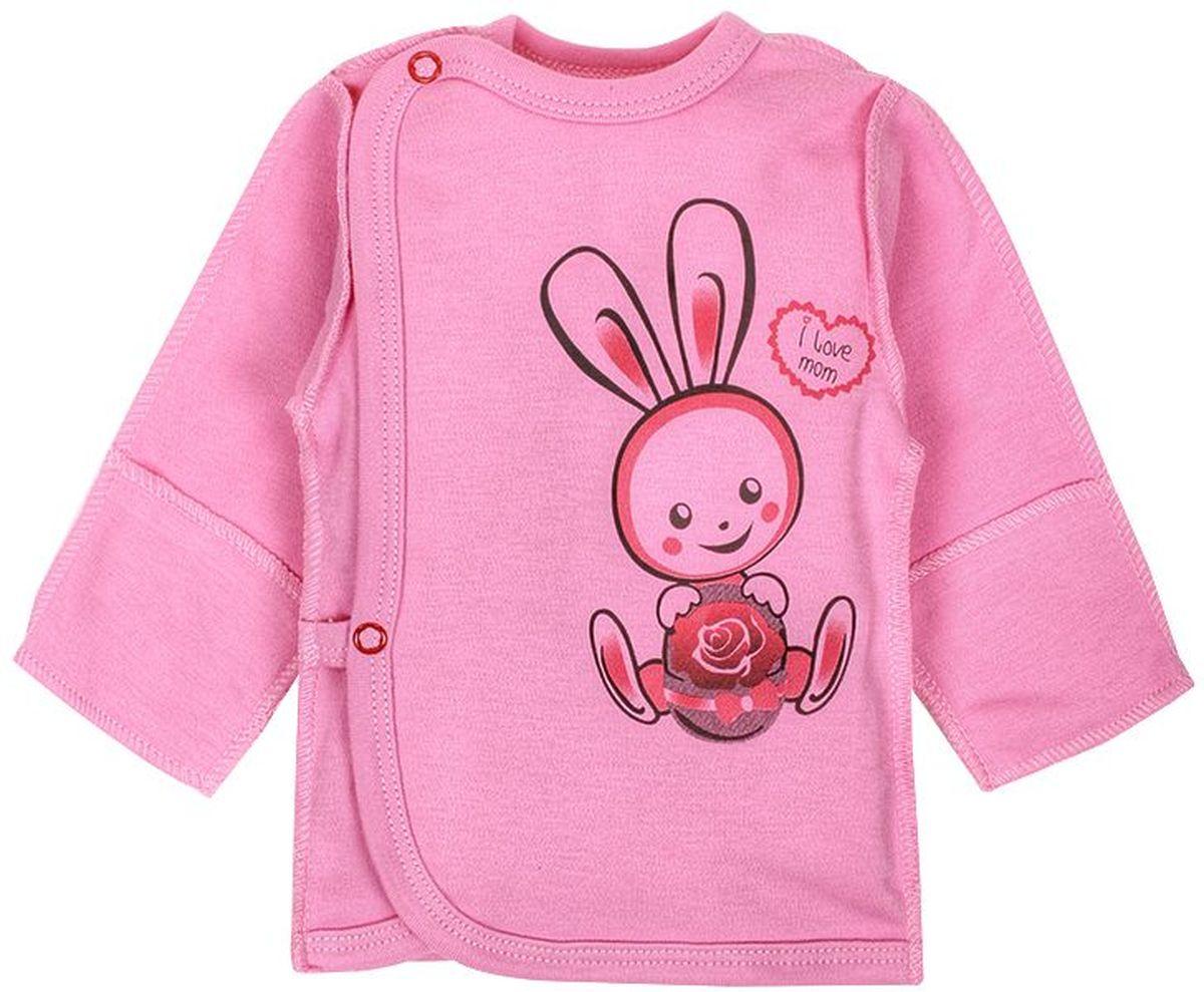 Распашонка детская M&D, цвет: розовый, мультиколор. Р130303. Размер 62Р130303Распашонка детская M&D послужит идеальным дополнением к гардеробу вашего малыша. Распашонка изготовлена из натурального хлопка, благодаря чему она очень мягкая и легкая, не раздражает нежную кожу ребенка и хорошо вентилируется.Распашонка с круглым вырезом горловины и длинными стандартными рукавами застегивается сбоку на кнопки, что помогает при переодевании ребенка. Вырез горловины, планка и низ изделия обработаны бейкой из отделочного полотна. Края на рукавах дополнены пришитыми рукавичками. Распашонка оформлена принтом с изображением зайчика.