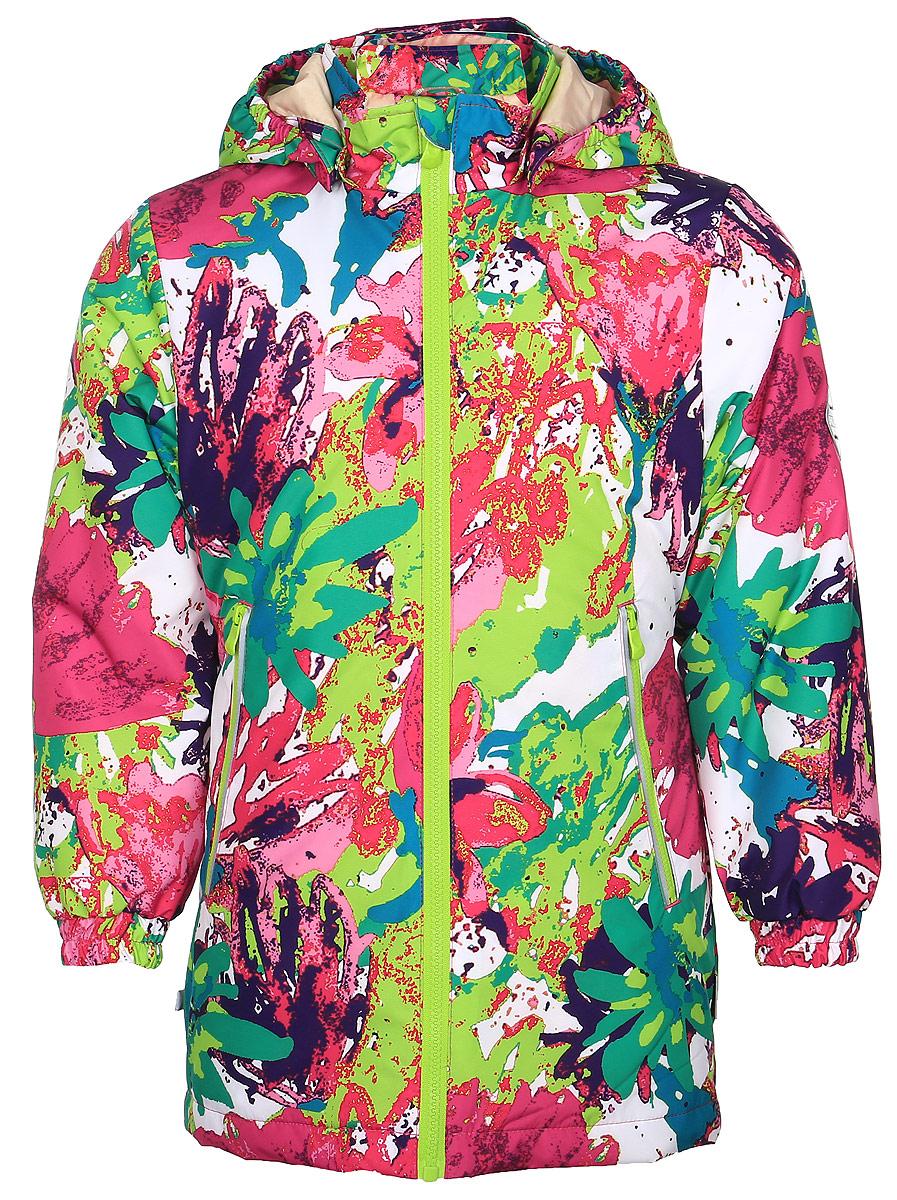 Куртка для девочки Huppa June, цвет: белый, мультиколор. 17880010-71220. Размер 14617880010-71220Куртка для девочки Huppa June изготовлена из водонепроницаемого полиэстера. Куртка со съемным капюшоном застегивается на пластиковую застежку-молнию. Высокотехнологичный лёгкий синтетический утеплитель нового поколения, сохраняет объём и высокую теплоизоляцию изделия. Края капюшона и рукавов дополнены резинками. Сзади на талии ткань собрана на внутренние резинки. У модели имеются два врезных кармана на застежках-молниях. Изделие дополнено светоотражающими элементами.