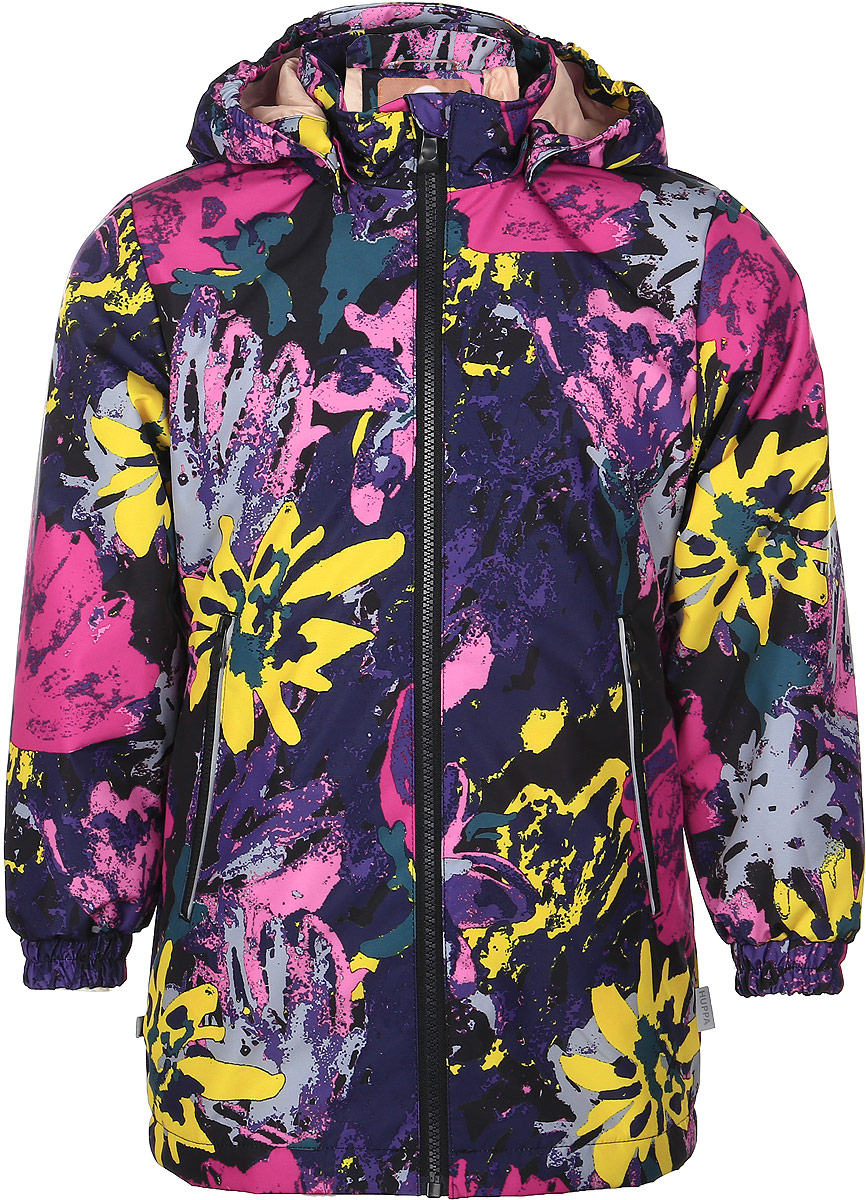 Куртка для девочки Huppa June, цвет: черный, мультиколор. 17880004-71209. Размер 11017880004-71209Детская куртка Huppa June изготовлена из водонепроницаемого полиэстера. Куртка со съемным капюшоном застегивается на пластиковую застежку-молнию с защитой подбородка. Высокотехнологичный лёгкий синтетический утеплитель нового поколения сохраняет объём и высокую теплоизоляцию изделия. Края капюшона и рукавов дополнены резинками. Сзади на талии ткань собрана на внутренние резинки. У модели имеются два врезных кармана на застежках-молниях. Изделие дополнено светоотражающими элементами.