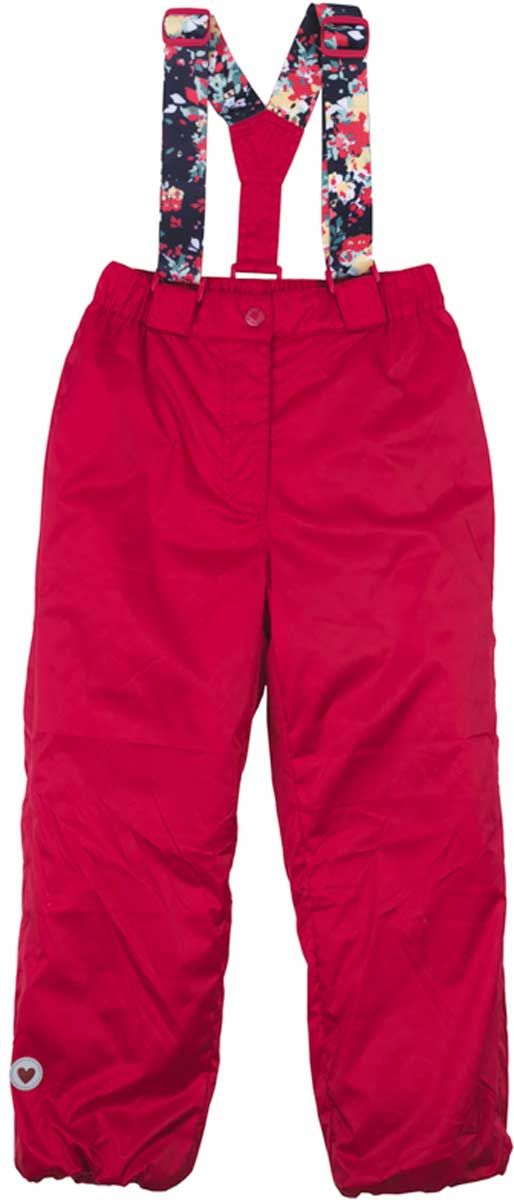 Брюки для девочки PlayToday, цвет: красный. 172002. Размер 110172002Практичные и удобные брюки на эластичных бретелях с удобной застежкой - молнией и пуговицей. Бретели регулируются по длине. Водоотталкивающая пропитка позволит гулять Вашему ребенка даже в сильный дождь. Для сохранения тепла, низ брюк снабжен мягкой резинкой. За счет светоотражателя по низу изделия, ребенок будет виден в темное время суток.