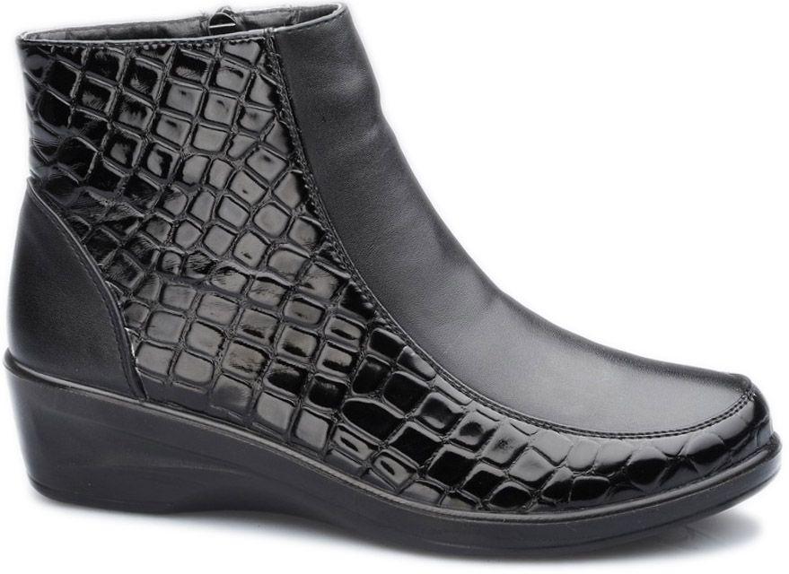 Ботинки женские Health Shoes Econom, цвет: черный. 2323-LF45050B. Размер 412323-LF45050BЖенские ботинки от Health Shoes Econom выполнены из искусственной кожи и дополнены тиснением. Ботинки застегиваются на боковую застежку-молнию. Мягкая подкладка и стелька из байки сохраняют тепло, обеспечивая максимальный комфорт при движении. Невысокая танкетка устойчива.